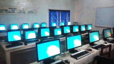 new computers displayed at training centre in Freetown